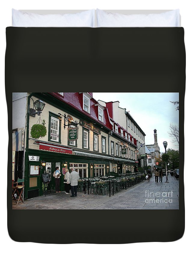 Street Duvet Cover featuring the photograph Street In Quebec by Christiane Schulze Art And Photography