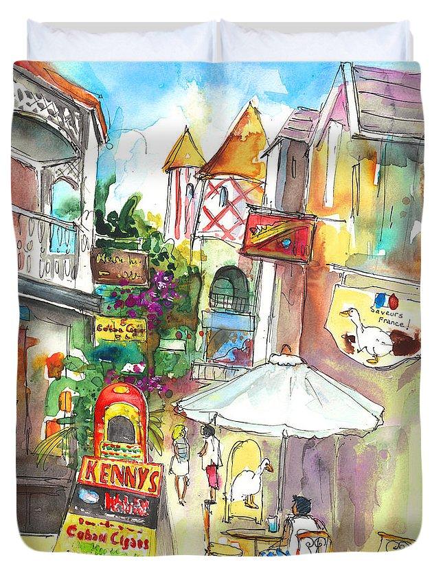 Caribbean Art Duvet Cover featuring the painting Street In Saint Martin by Miki De Goodaboom