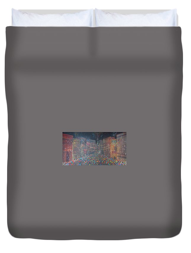 Party Duvet Cover featuring the painting Street Party by Rhodes Rumsey