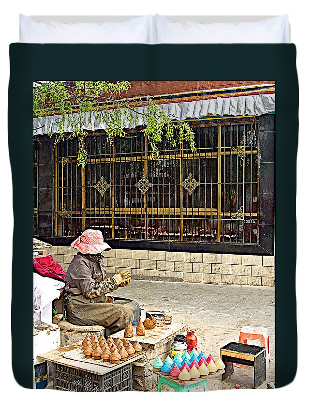 Street Shopkeeper In Lhasa Duvet Cover featuring the photograph Street Shopkeeper In Lhasa-tibet by Ruth Hager