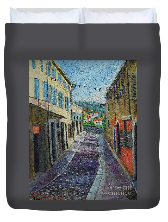 Raija Merila Duvet Cover featuring the painting Street View From Provence by Raija Merila