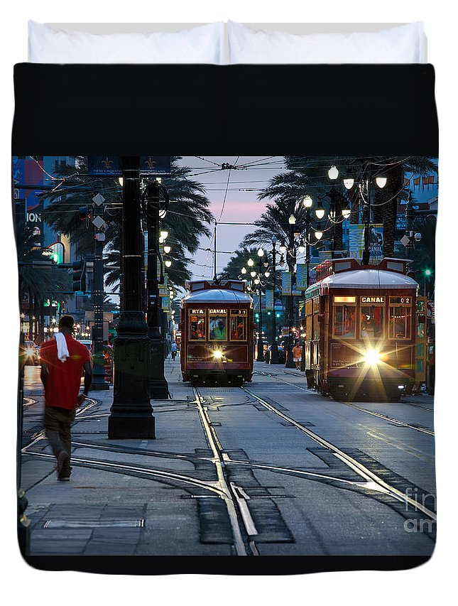 Streetcars Duvet Cover featuring the photograph Streetcars On Canal Street by Mary Smyth
