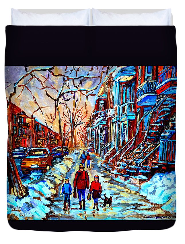 Montreal Duvet Cover featuring the painting Streets Of Montreal by Carole Spandau