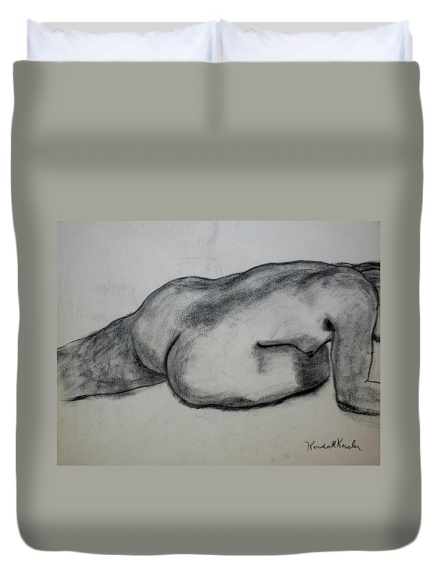 Nude Duvet Cover featuring the drawing Strength by Kendall Kessler