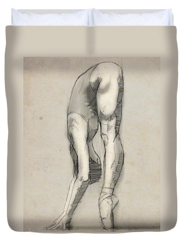 Ballet Duvet Cover featuring the digital art Stretch En Pointe by H James Hoff