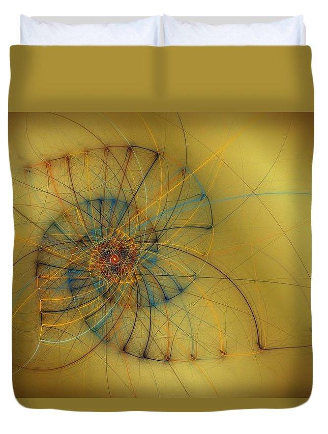 Shell Duvet Cover featuring the digital art String Shell by Kiki Art