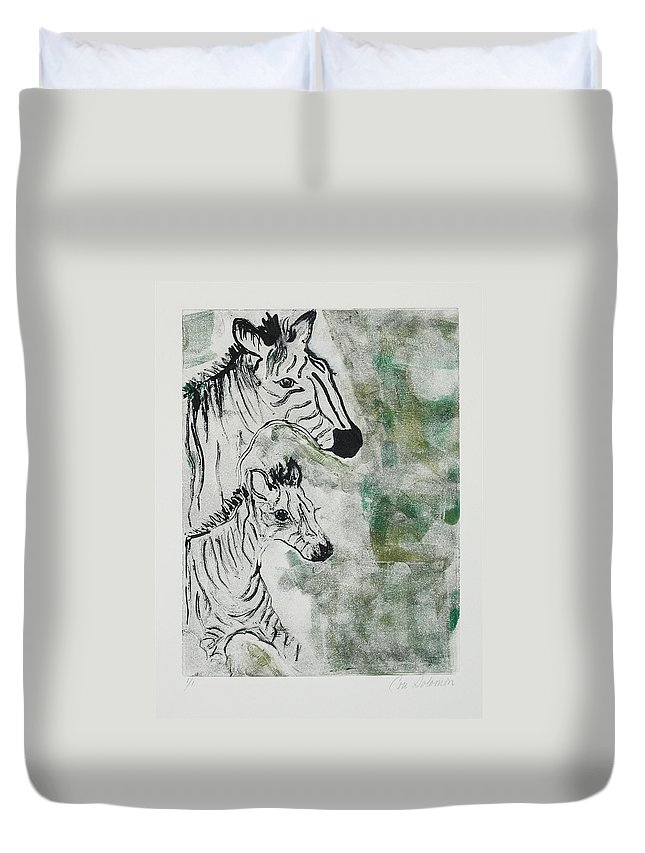 Zebras Duvet Cover featuring the mixed media Striped Duet by Cori Solomon