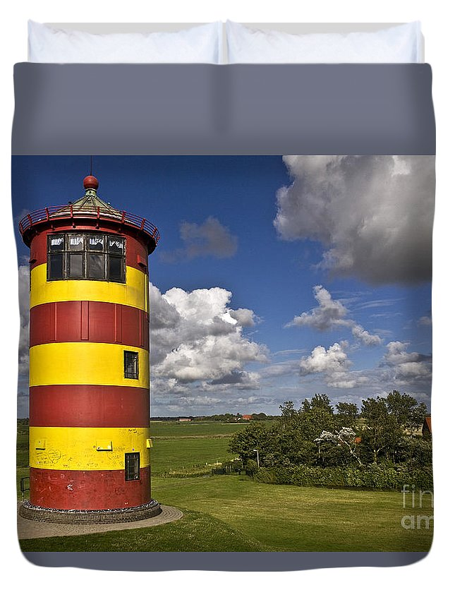 Heiko Duvet Cover featuring the photograph Striped Lighthouse by Heiko Koehrer-Wagner