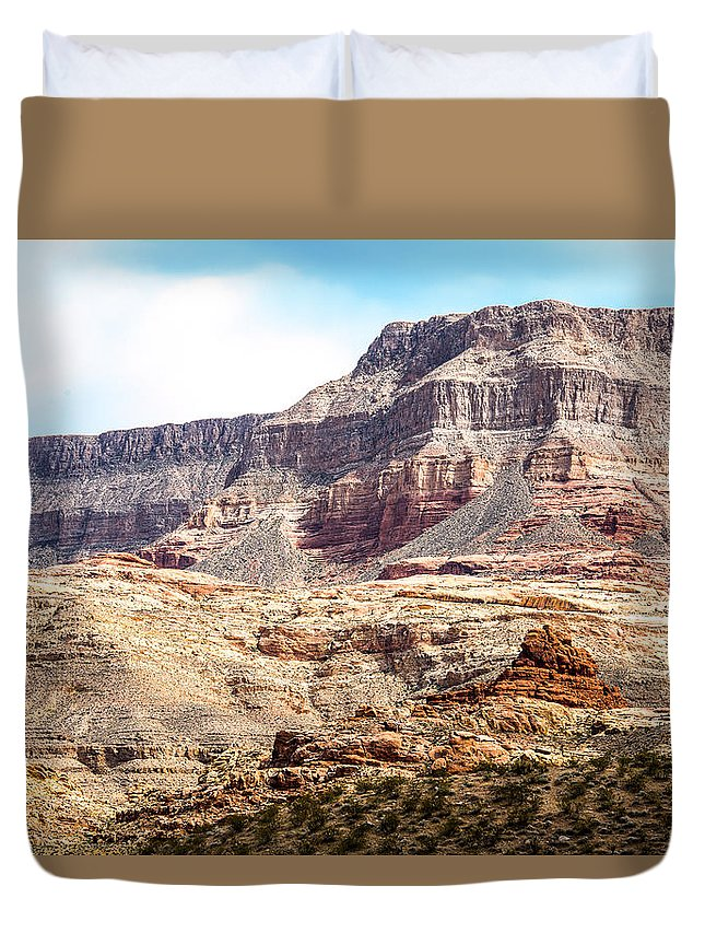 Utah Usa Duvet Cover featuring the photograph Striped Mountains by Onyonet Photo Studios