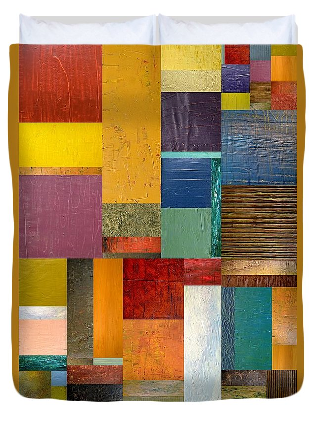 Textural Duvet Cover featuring the painting Strips And Pieces Ll by Michelle Calkins