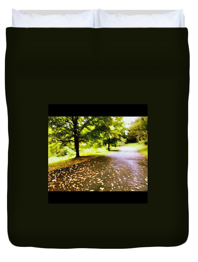 Maple Duvet Cover featuring the photograph Stroll On An Autumn Lane by Angela Rath