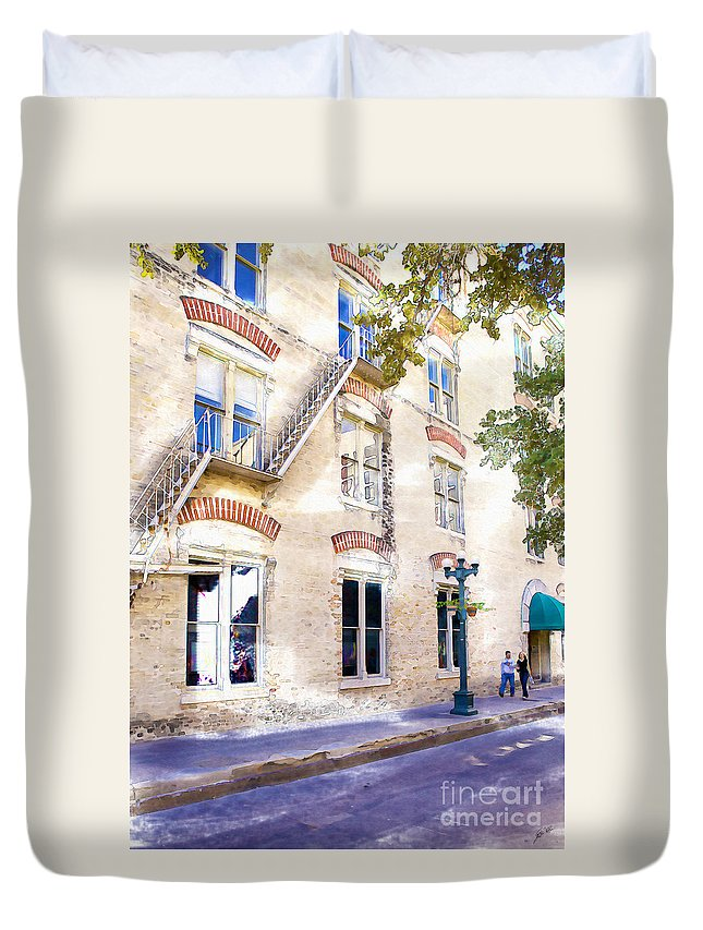 Couple Duvet Cover featuring the photograph Strolling by Erika Weber