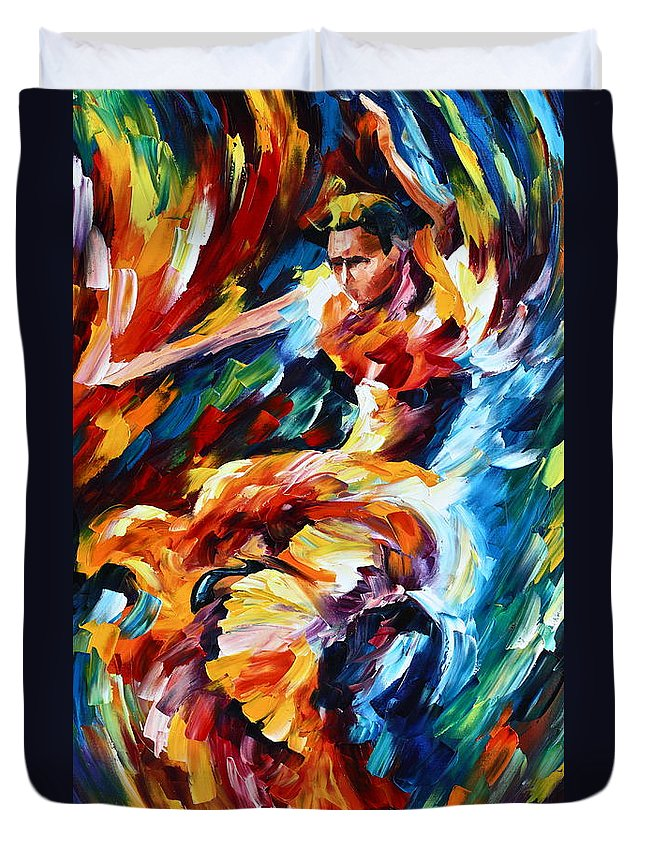 Dance Duvet Cover featuring the painting Strong Flamenco by Leonid Afremov