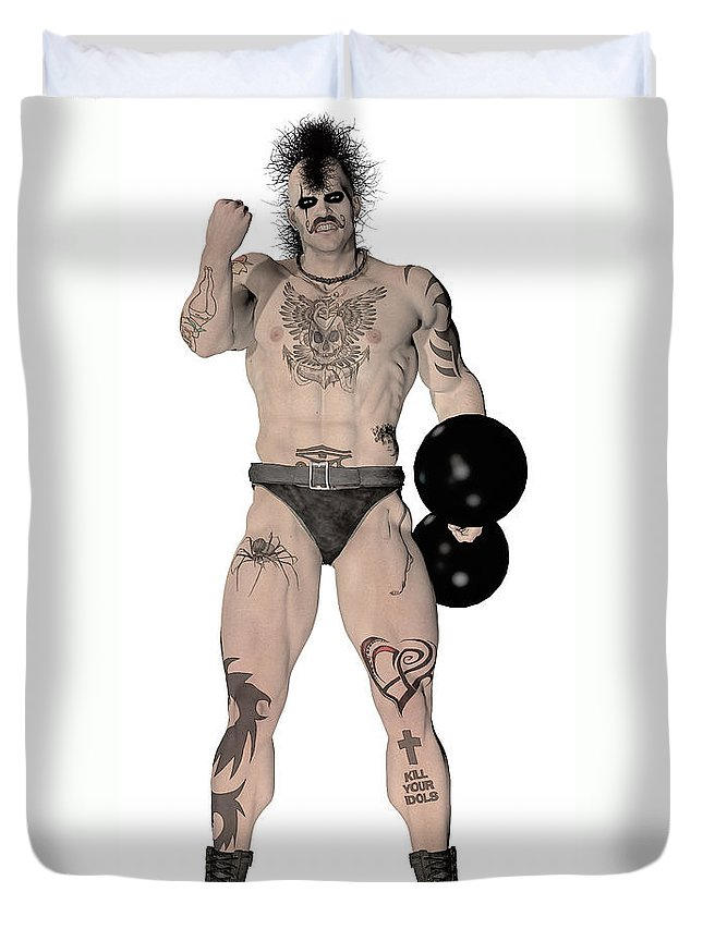 Circus Duvet Cover featuring the painting Strongest Man Fighter by Quim Abella