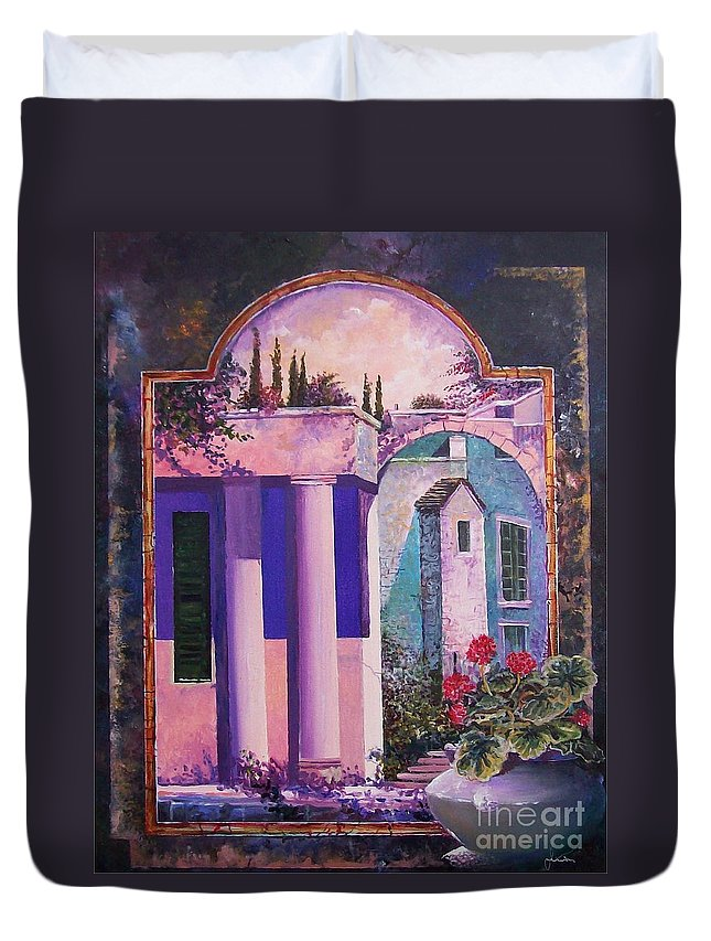 Still Life Duvet Cover featuring the painting Structures With Emotional Dimensions by Sinisa Saratlic