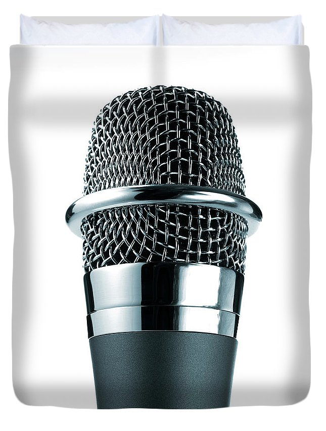 White Background Duvet Cover featuring the photograph Studio Shot Of Microphone On White by David Arky