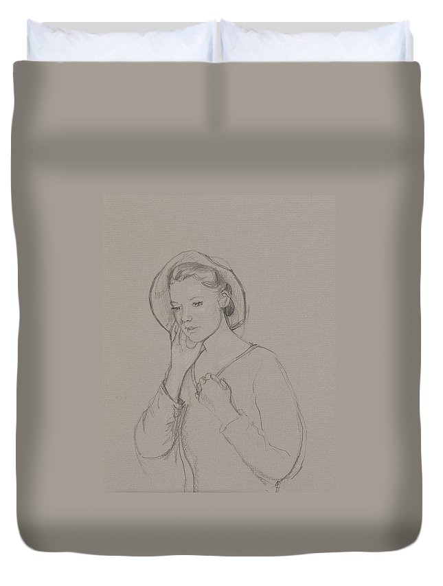 Jane Austen Duvet Cover featuring the drawing Study For Elizabeth Bennet by Caroline Hervey Bathurst