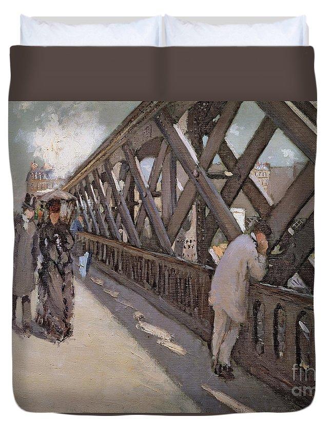 Bridge; Impressionist; Couple; Walking; Strolling; Parisian; Industrial; Iron; Male; Esquisse; Etude Duvet Cover featuring the painting Study For Le Pont De L Europe by Gustave Caillebotte
