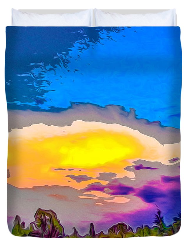 Yellow Duvet Cover featuring the digital art Stylised Sunset by Algirdas Lukas