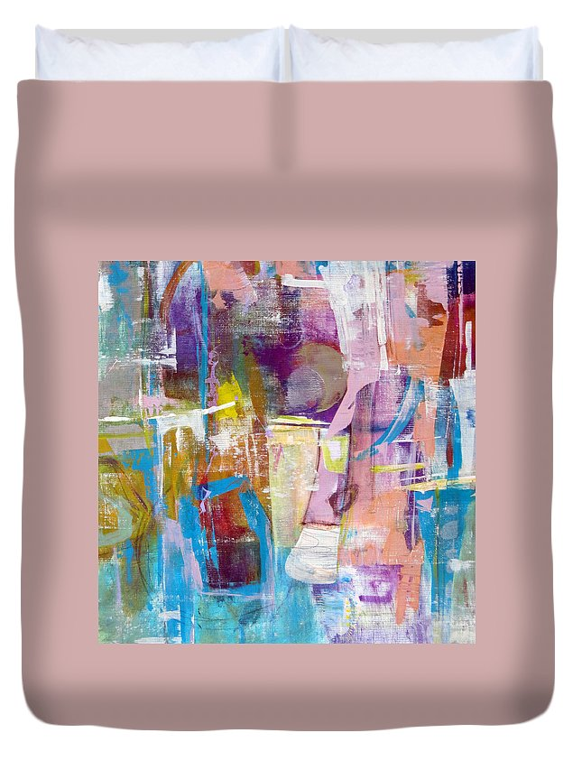Katie Black Duvet Cover featuring the painting Subjective by Katie Black