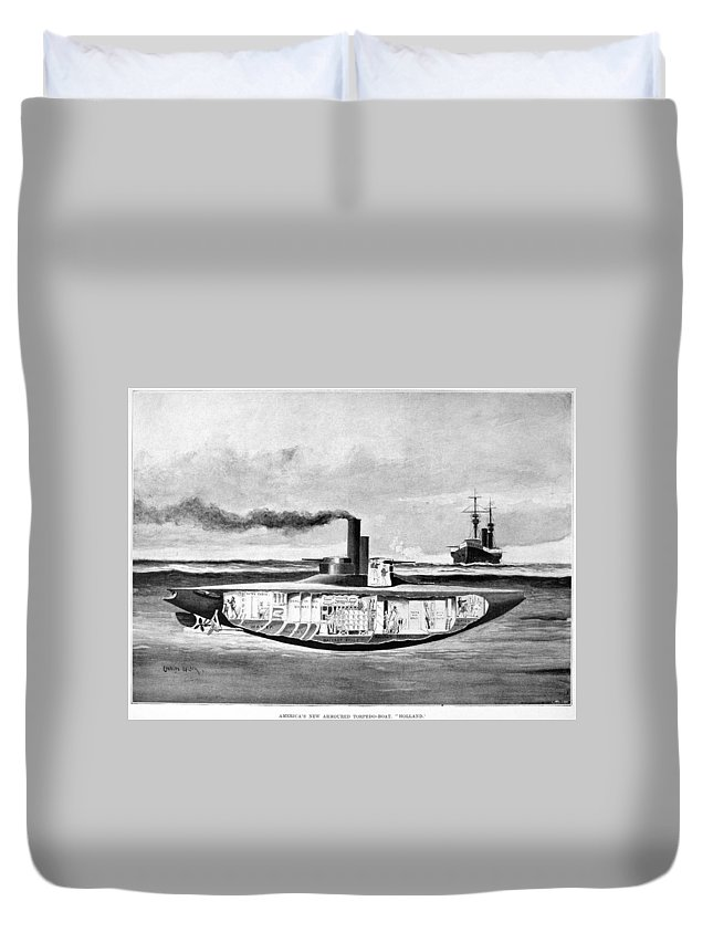 1898 Duvet Cover featuring the drawing Submarine 'holland,' 1898 by Granger