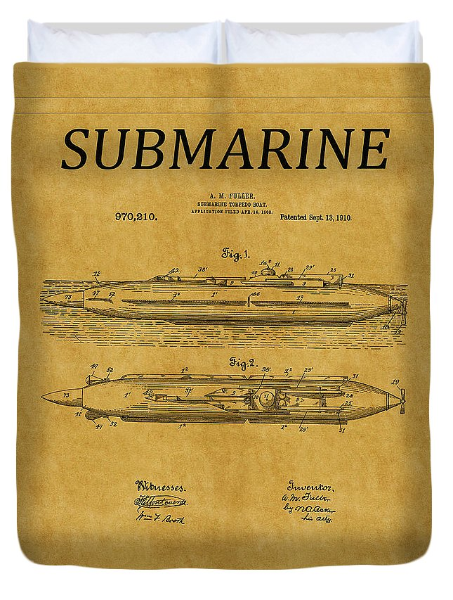 Sub Duvet Cover featuring the photograph Submarine Patent 7 by Andrew Fare