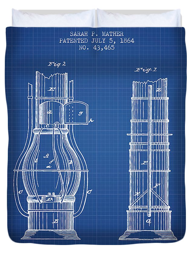 Submarine Duvet Cover featuring the digital art Submarine Telescope Patent From 1864 - Blueprint by Aged Pixel
