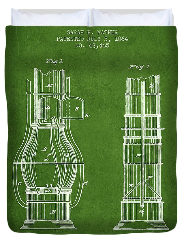 Submarine Duvet Cover featuring the digital art Submarine Telescope Patent From 1864 - Green by Aged Pixel