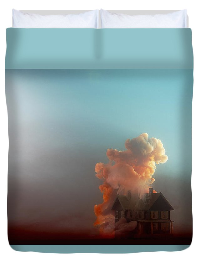 Model House Duvet Cover featuring the photograph Submerged House by Paul Taylor