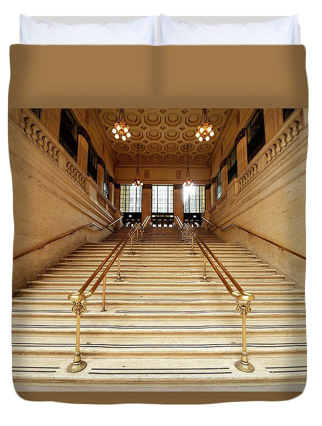Steps Duvet Cover featuring the photograph Subway Station Staircase,chicago by Lisa-blue