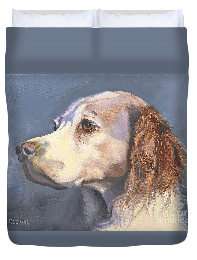 Spaniel Duvet Cover featuring the painting Such A Spaniel by Susan A Becker