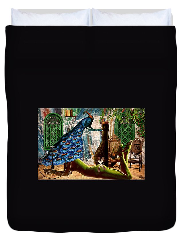 Surreal Duvet Cover featuring the painting Suck My Peacock by Ally White