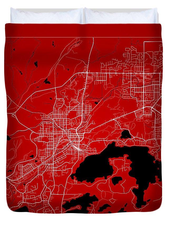 Road Map Duvet Cover featuring the digital art Sudbury Street Map - Sudbury Canada Road Map Art On Color by Jurq Studio
