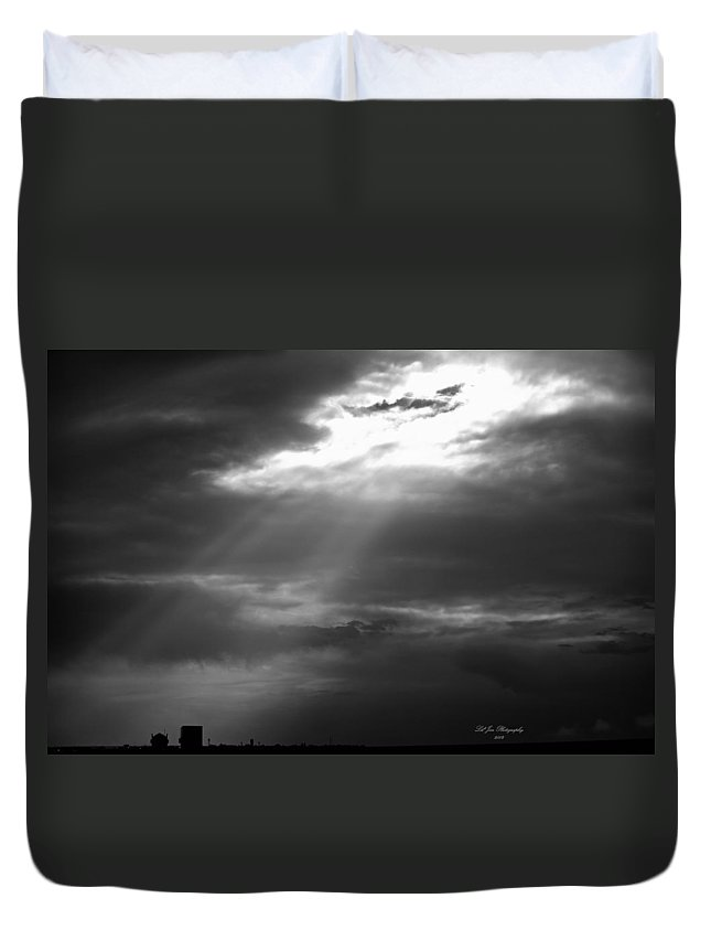Sun Duvet Cover featuring the photograph Sudden Burst Of Sun In Bw by Jeanette C Landstrom