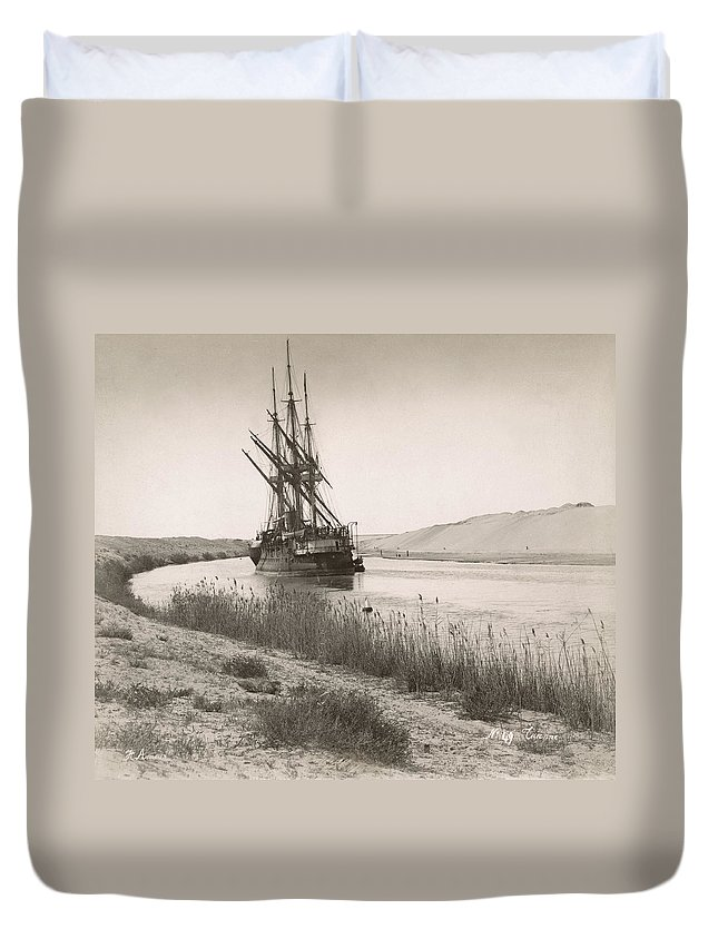 1895 Duvet Cover featuring the photograph Suez Canal, C1895 by Granger