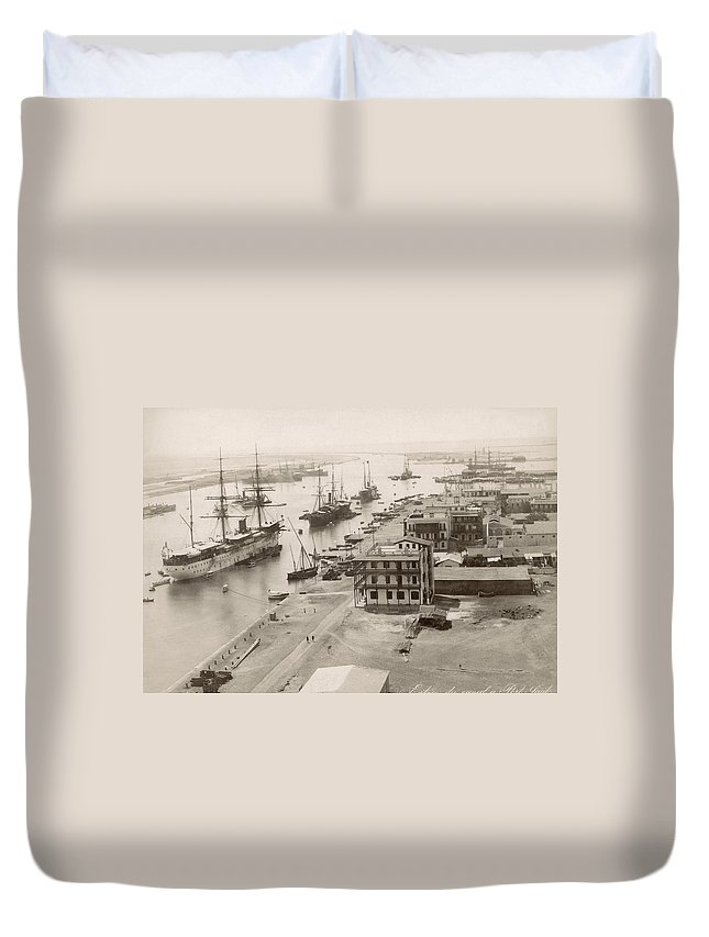 1895 Duvet Cover featuring the photograph Suez Canal Port Said by Granger