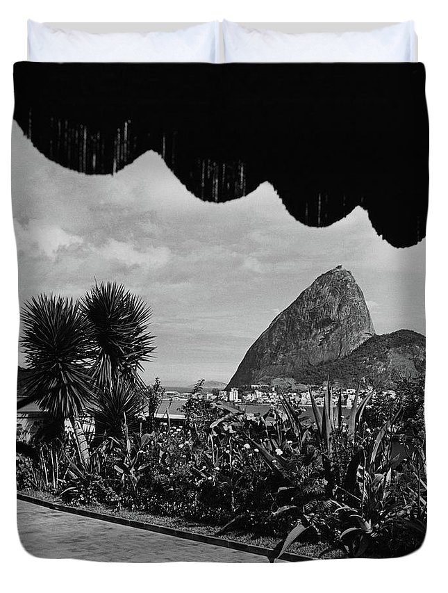 Exterior Duvet Cover Featuring The Photograph Sugarloaf Mountain Seen From  The Patio At Carlos By Luis