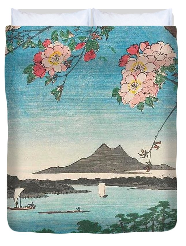 1856 Duvet Cover featuring the painting Suijin Shrine And Massaki On The Sumida River by Utagawa Hiroshige