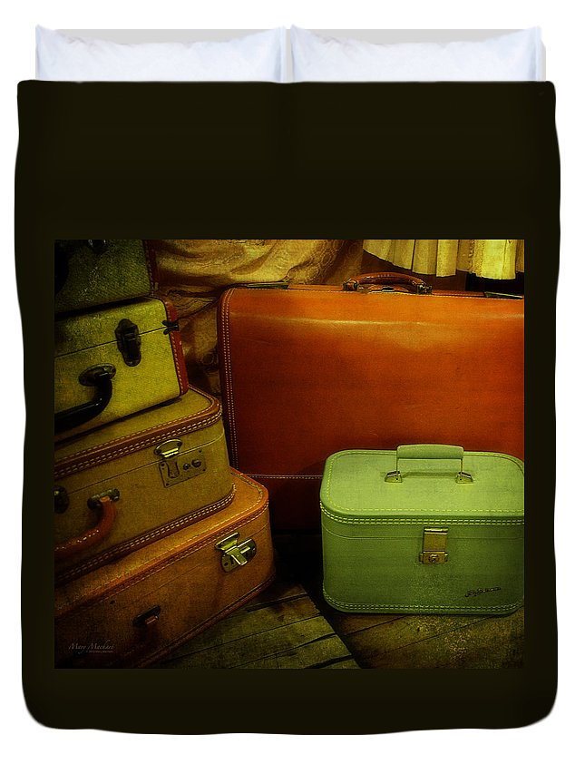 Suitcases In The Attic Duvet Cover featuring the photograph Suitcases In The Attic by Mary Machare