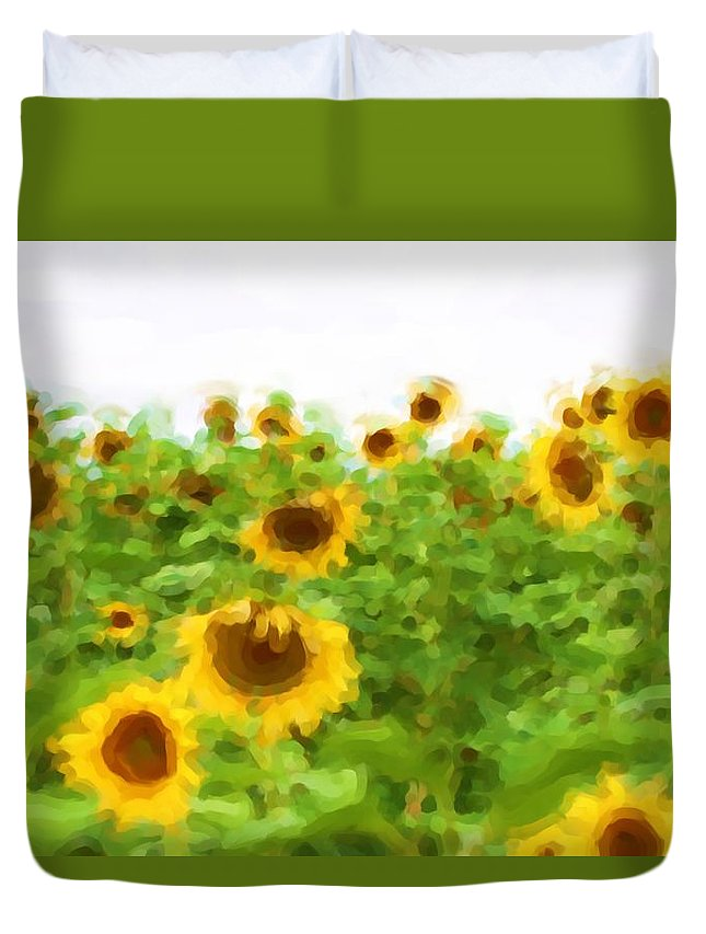 Sunflowers Duvet Cover featuring the photograph Sultry Sunflowers by Alice Gipson