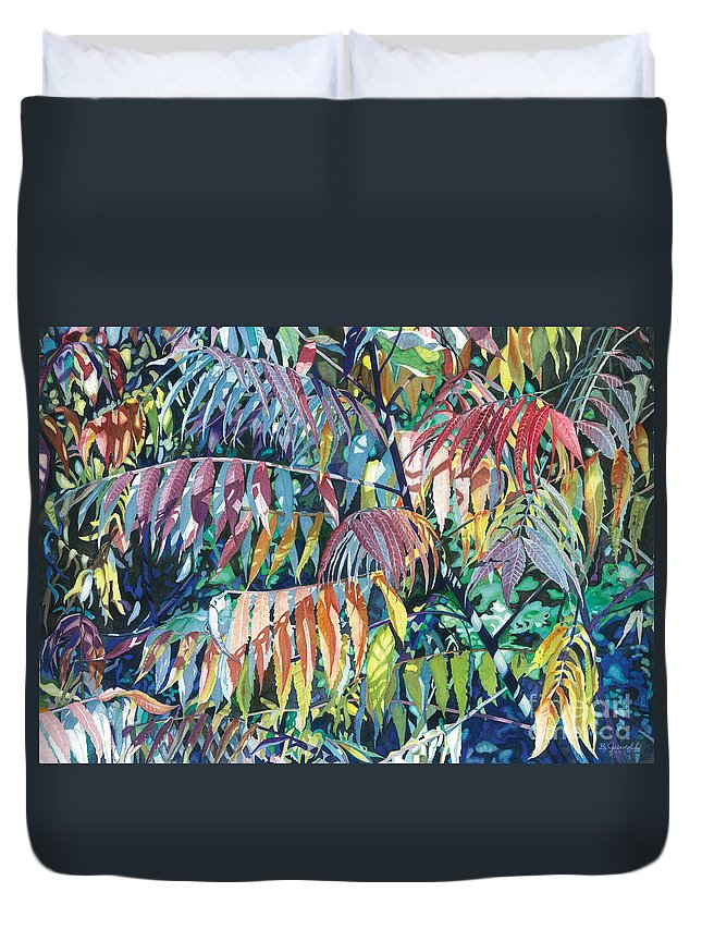 Water Color Paintings Duvet Cover featuring the painting Sumac Spectacular by Barbara Jewell
