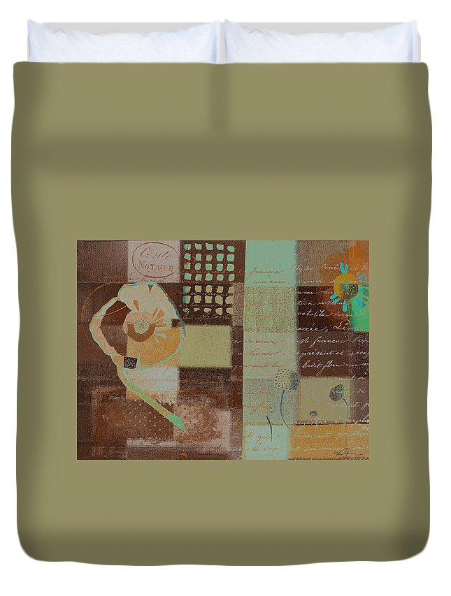 Brown Duvet Cover featuring the painting Summer 2014 - J088097112-brown01 by Variance Collections