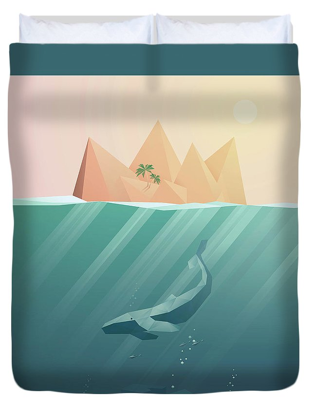 Underwater Duvet Cover featuring the digital art Summer Background With Underwater by Jozefmicic