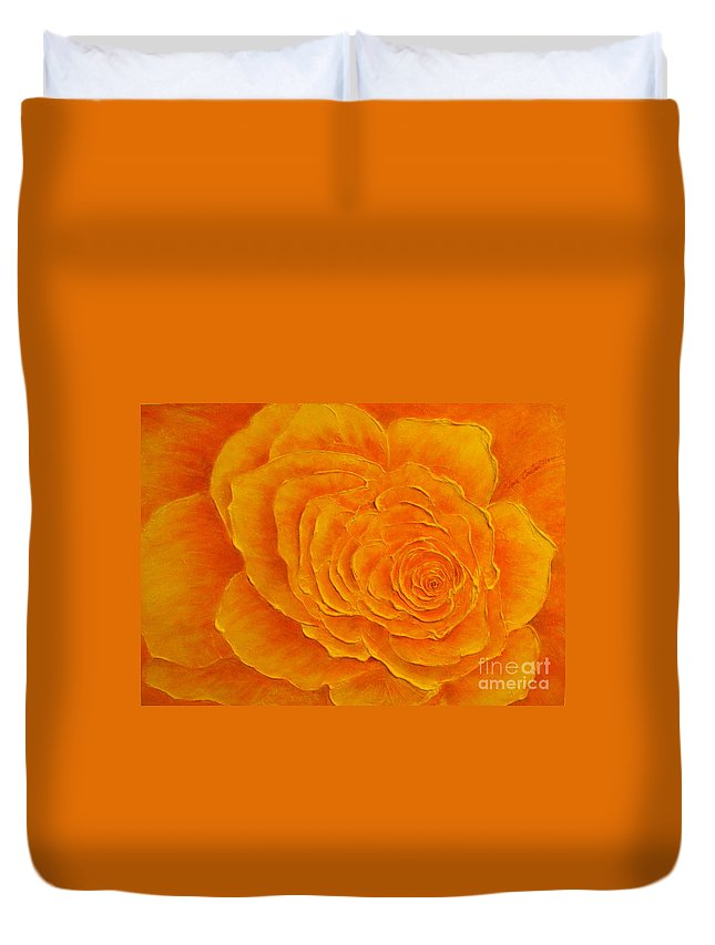 Floral Duvet Cover featuring the painting Summer Beauty by Elena Constantinescu