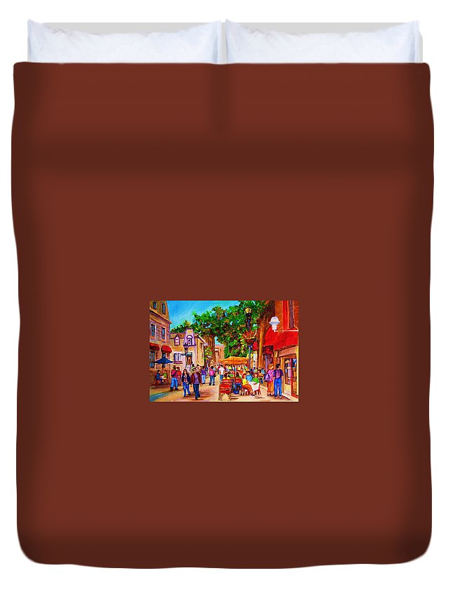 Summer Cafes Montreal Street Scenes Duvet Cover featuring the painting Summer Cafes by Carole Spandau