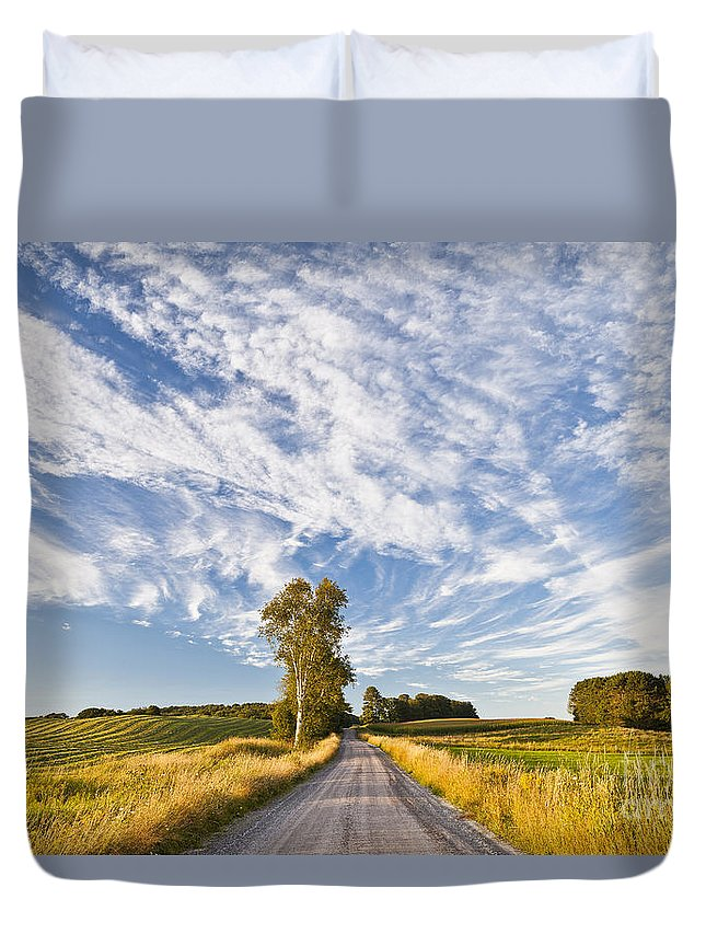Summer Duvet Cover featuring the photograph Summer Country Road by Alan L Graham
