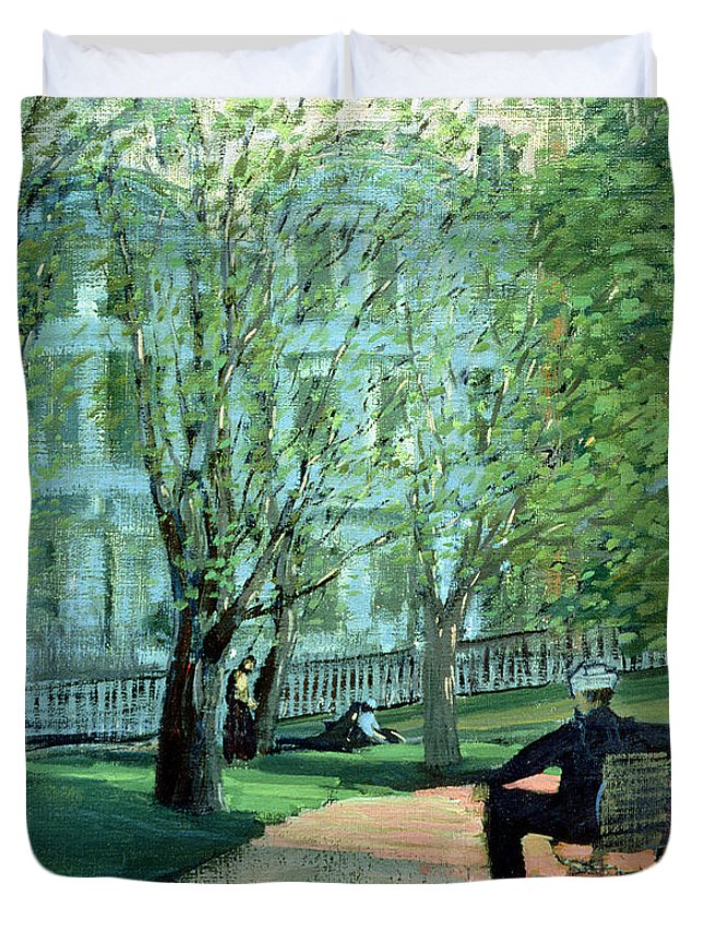 Park Duvet Cover featuring the painting Summer Day Boston Public Garden by George Luks