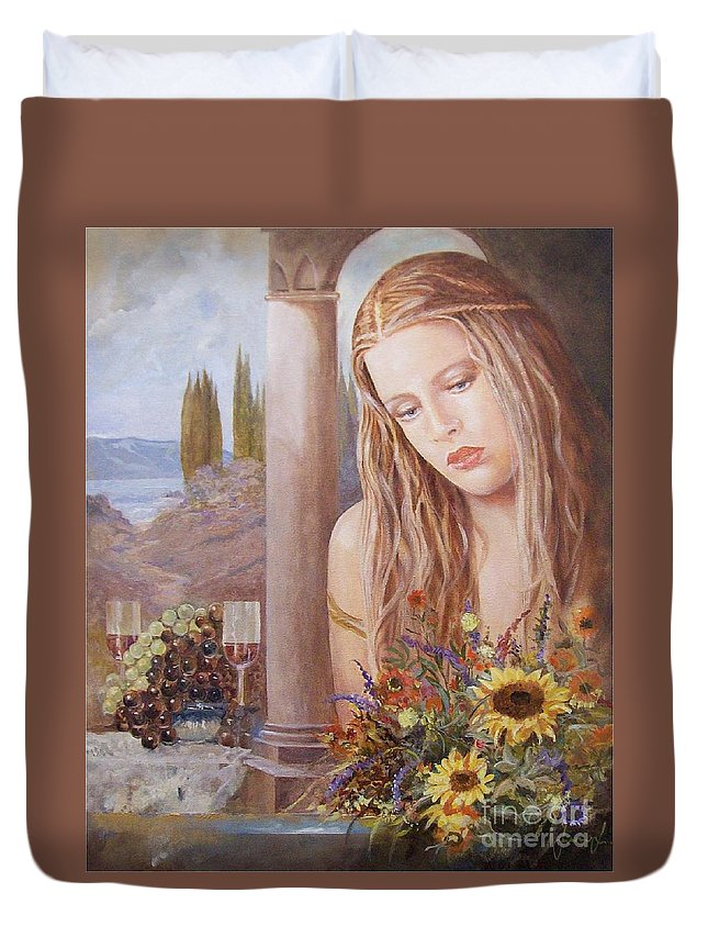 Portrait Duvet Cover featuring the painting Summer Day by Sinisa Saratlic