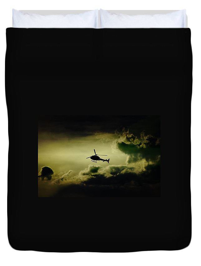 Clouds Duvet Cover featuring the photograph Summer Flying by Paul Job