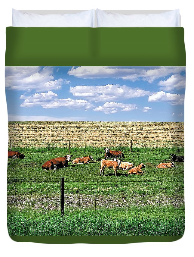Scenic Duvet Cover featuring the photograph Summer Furrows by Terry Reynoldson